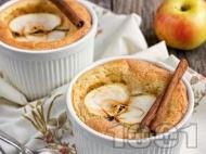 Рецепта Домашно суфле с прясно мляко, масло, орехи и ябълка